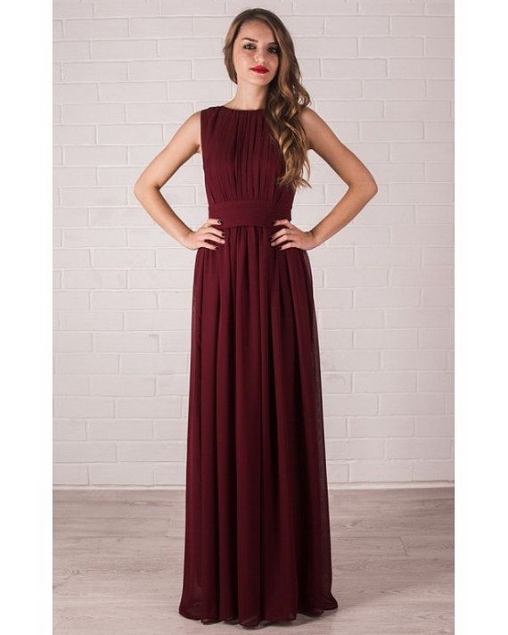 Floor Length Evening Dress Marsala. Chiffon Dress Bridesmaid.