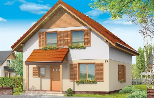 Projekt Praktyczny B to niewielki dom jednorodzinny dla czteroosobowej rodziny. Parterowy budynek z poddaszem użytkowym. Ten sam projekt przedstawiamy w dwóch wersjach wariantowych - jako dom jednorodzinne dla jednej rodziny, oraz jako dom dwulokalowy - z wydzielonymi dwoma mieszkaniami na parterze i na poddaszu. Prezentowana wersja projektu domu to budynek dwulokalowy - pomyślany w szczególności o rodzinach mieszkających razem, na przekład trzypokoleniowych.