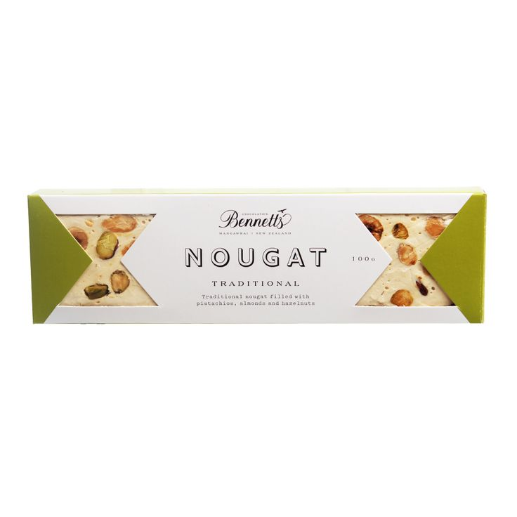 Bennetts' Traditional Nougat.A classic slab of traditional nougat filled with pistachios, almonds and hazelnuts. Irresistibly delicious!  Gluten free. Dairy free. No artificial flavours, colours or preservatives. Palm oil free. Free range eggs.