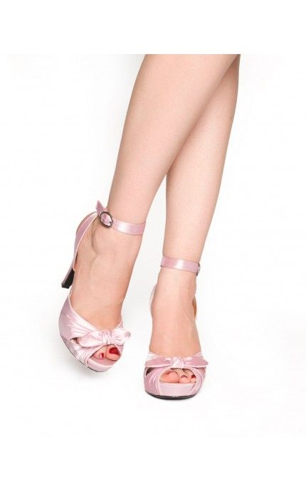 Pinup Couture - Bettie Heel in Pink Satin | Pinup Girl Clothing