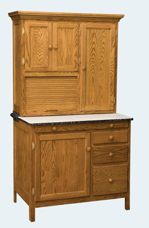 Bakers Hoosier Cabinet $1765. Bakers Hoosier measures 76 x 41 x 27 Standard features, roll up bread box, slide out porcelain top, traditional flat side panels . The cabinet is pictured in oak, comes in options of oak, quarter sawn oak and cherry. Flour bin is optional.