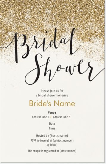 "Gold Bridal Shower Vertical Flat Invitations - 5""x7"", Whimsical Gold Vertical Flat Invitations - 5""x7"" 