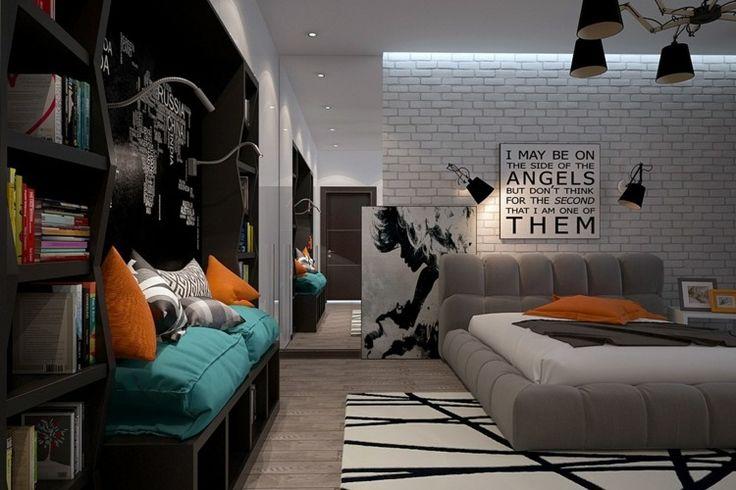 Modernes Jugendzimmer mit großem, gepolstertem Bett