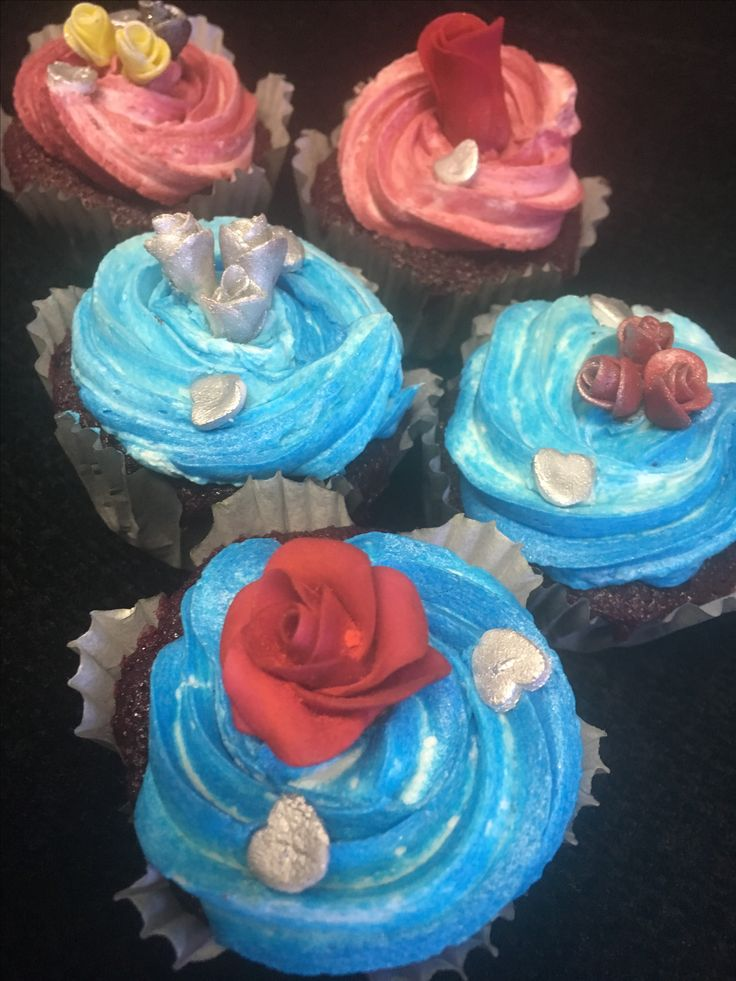 All natural beetroot red velvet cupcakes with a ganache filling topped with buttercream and decorated with handmade fondant roses