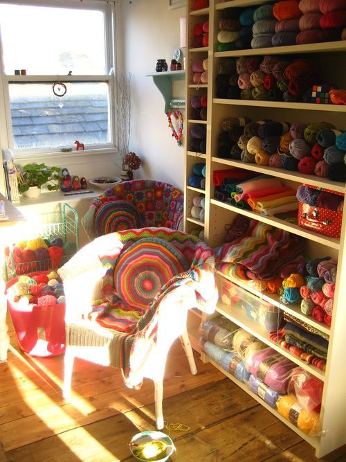 Attic24 shared her #crochet studio. Lots of #yarn of course