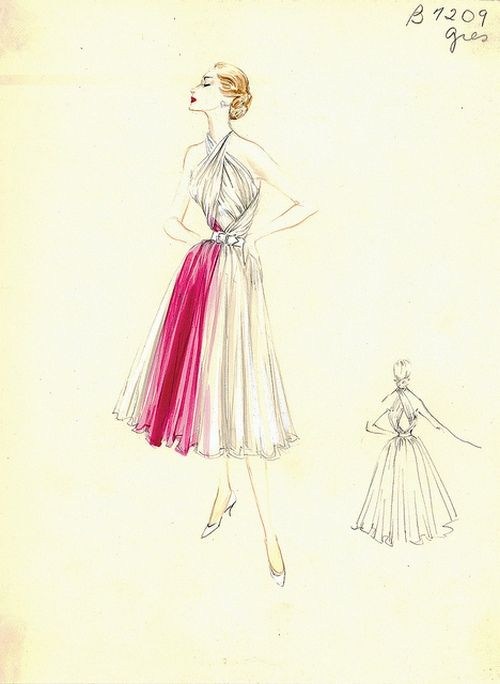 Fashion sketch by Madame Gres, 1950s.