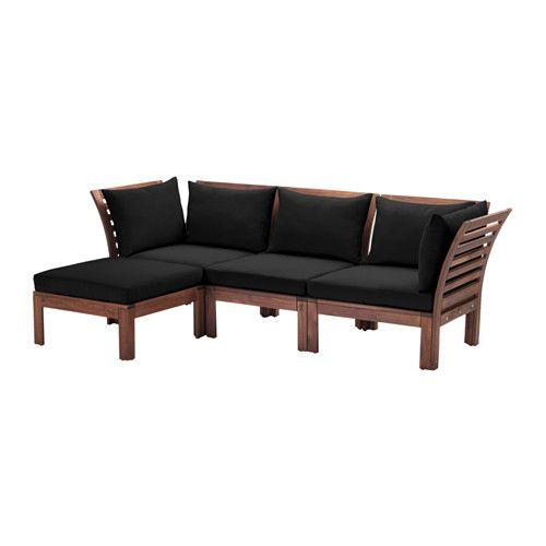 ÄPPLARÖ / HÅLLÖ Sofa with footstool, outdoor, brown stained, black brown stained/black