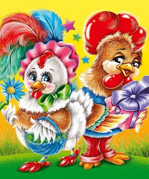 Иллюстрация для новогодней упаковки Петушок и Курочка