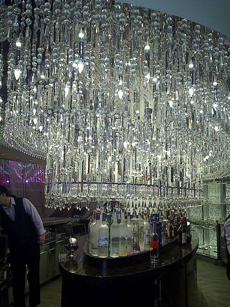 Chandelier bar, Cosmopolitan Hotel, Las Vegas.  Drink Champagne under (and inside) a chandelier.