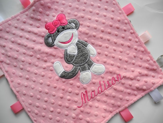 Girl Sock Monkey, Personalized Tag Baby Minky Blanket, Sensory Ribbons, Pink and Gray