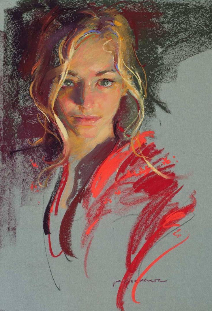 Red Silk - 22 x 16, Pastel ~ Daniel Gerhartz