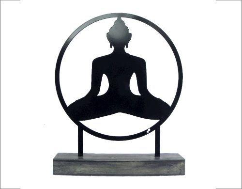 Staande woondecoratie - woonkamer of tuin - boeddha - staal - 35cm - inspiratie