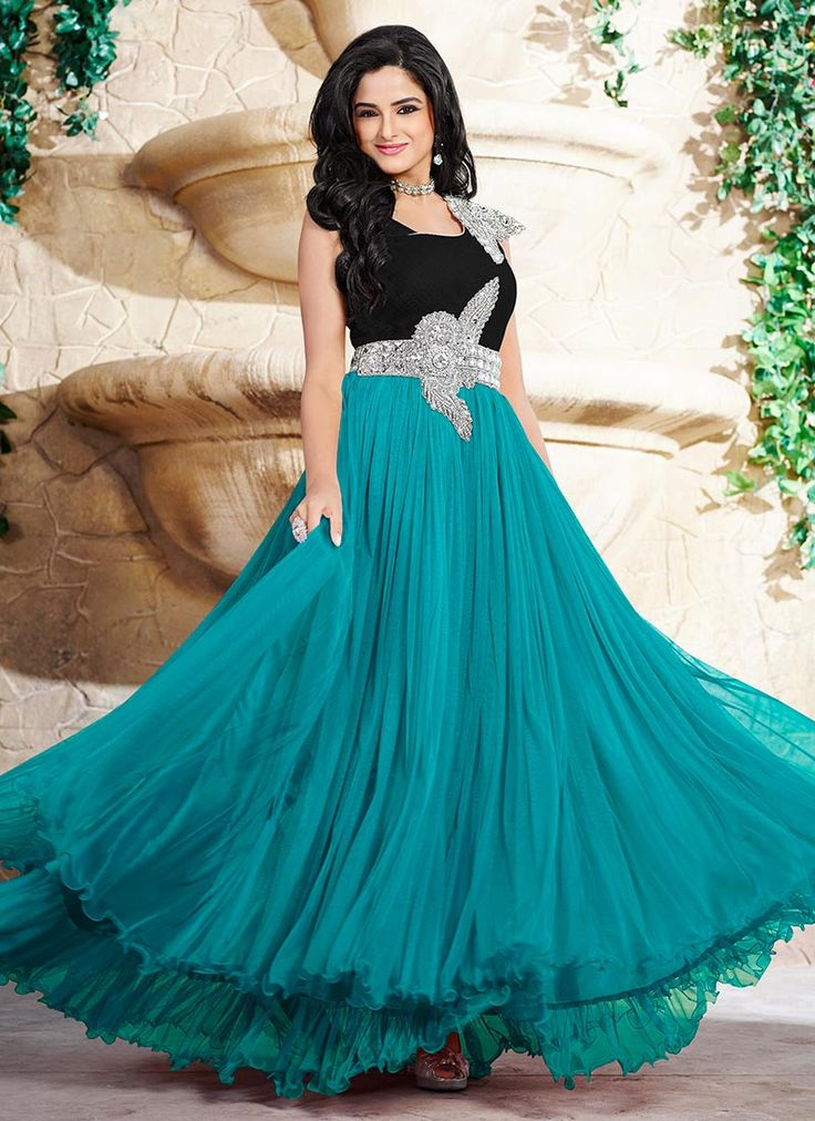 Buy Asmita Sood Layered Anarkali Gown online from the wide collection of Bespoke Gown.  This Black,  Blue  colored Bespoke Gown in Satin,  Net  fabric goes well with any occasion. Shop online Designer Bespoke Gown from cbazaar at the lowest price.