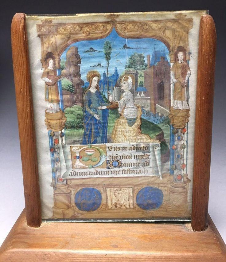 Estate Find 15th Century Illuminated Manuscript Vellum Page  | eBay