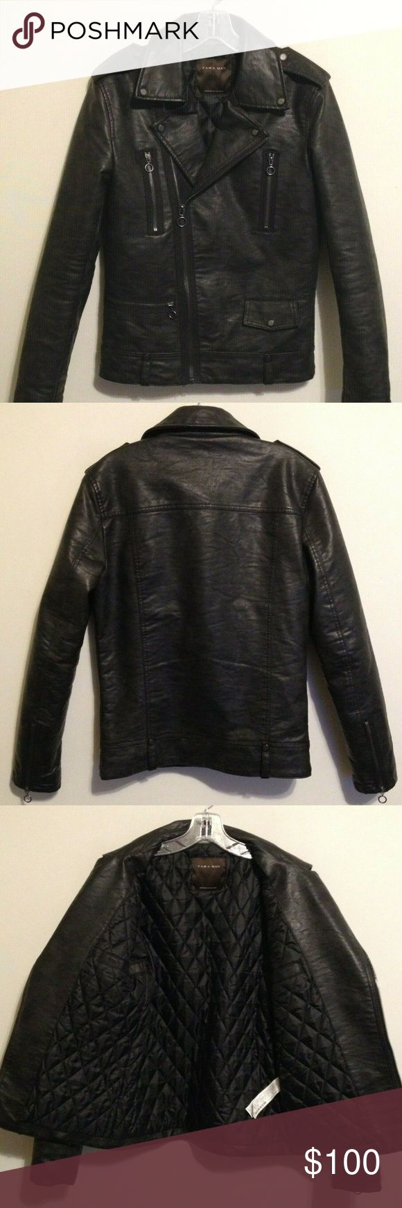 Zara Man Black Faux Leather Motorcycle Jacket S Faux
