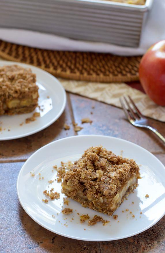 Caramel Apple Crisp Bars - Healthier vegan recipe made with whole wheat flour
