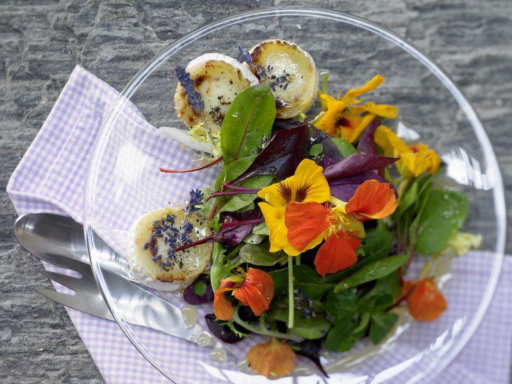 Ziegenkäsesalat - mit Lavendel-Dressing und Blüten - smarter - Kalorien: 294 Kcal - Zeit: 35 Min. | eatsmarter.de