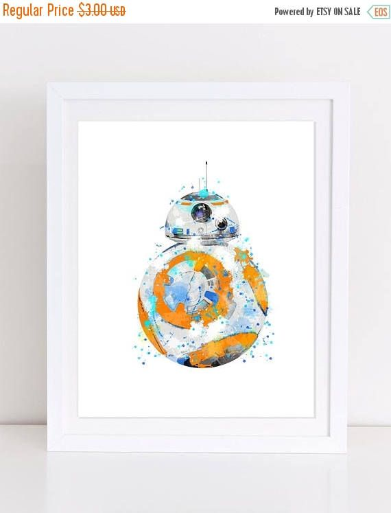 70%OFF Star Wars Droid BB8 watercolor BB-8 droid poster star