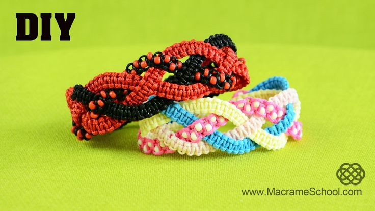 Braided Square Knot Bracelet Tutorial #Braided #Bracelet #Tutorial