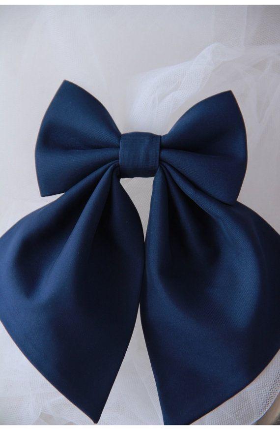 Navy Blue Women's Bow Tie Genuine New Brooch by VaniaSzaszBows