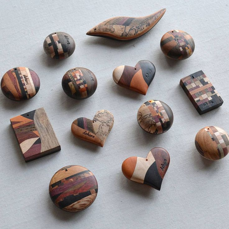 Yosegi pendants #exoticwood #woodworking #pendant #gems #木工 #ハンドメイド #寄木 #woodenjewelry #ペンダント #アクセサリー #atelierdehors