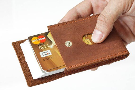 Business Card Case Leather Card Holder Minimal Card Wallet Front
