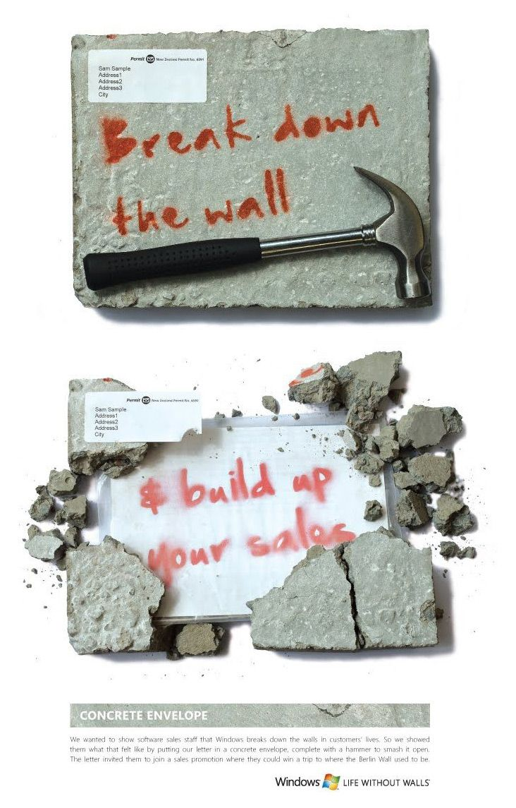US Microsoft concept, made from a material that is relatively easily to pull apart (and probably incredibly satisfying) with the message inside.