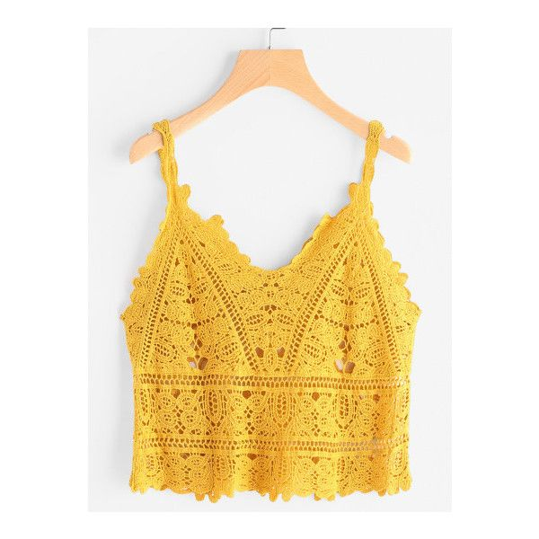 SheIn(sheinside) Hollow Out Crochet Cami Top (66595 PYG) ❤ liked on Polyvore featuring tops, yellow, crochet tank, cami tank, crochet tank top, camisole tank top and bohemian tank top