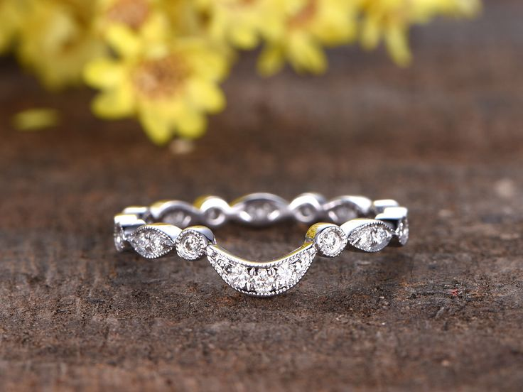 14k White Gold Diamond Wedding Band Anniversary Ring Curved U Art Deco Antique Milgrain Full Eternity Matching