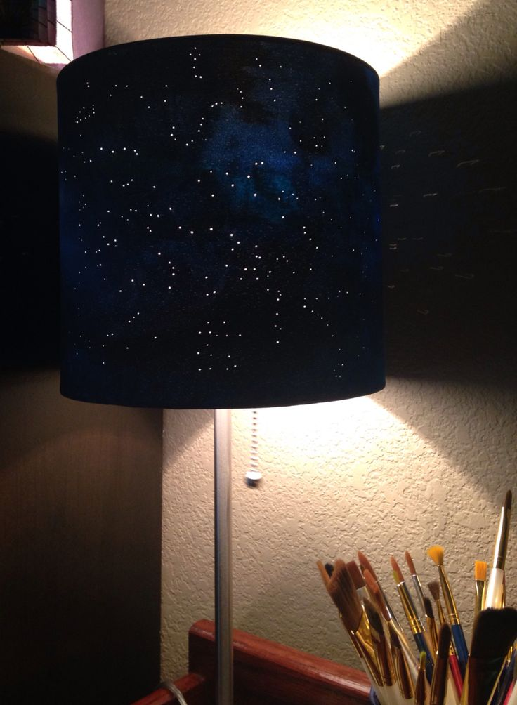 Diy Constellation Lamp White Lamp Shade Acrylic Paint And A Push Pin Diy Lamp Shade Constellation Lamp Painting Lamp Shades