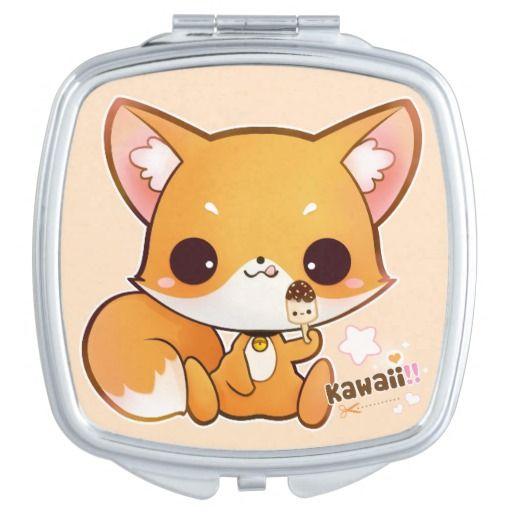 Cute chibi fox with kawaii icecream travel mirrors