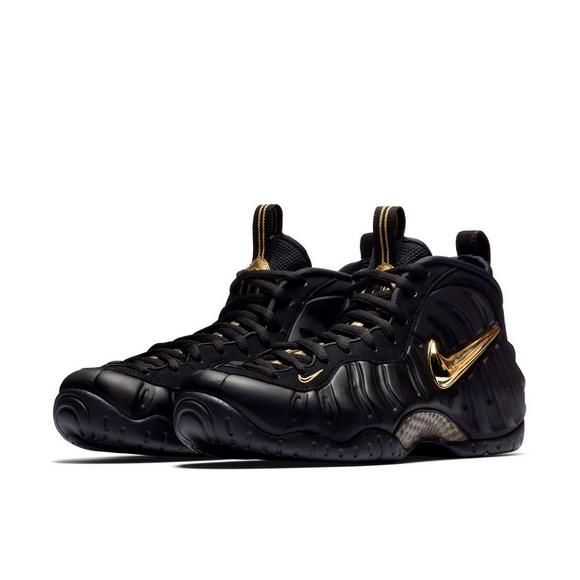 Nike Air Foamposite Pro Black Metallic Gold Grade School Kids Shoe Hibbett City Gear Kids Shoes Foam Posites Mens Nike Air