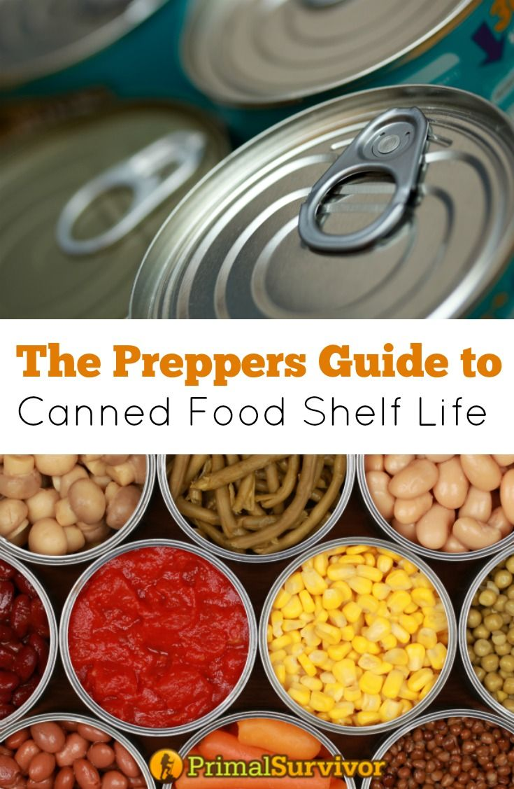 Prepper's Guide to Canned Food Shelf Life. Here, we will go over what you need to know about the shelf life of canned foods and how to make sure your canned emergency food supply stays safe to eat. #preppers #foodstockpile #emergency preparedness #cannedfood #shelflife