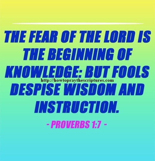 The Fear Of The LORD Is The Beginning Proverbs 1-7
