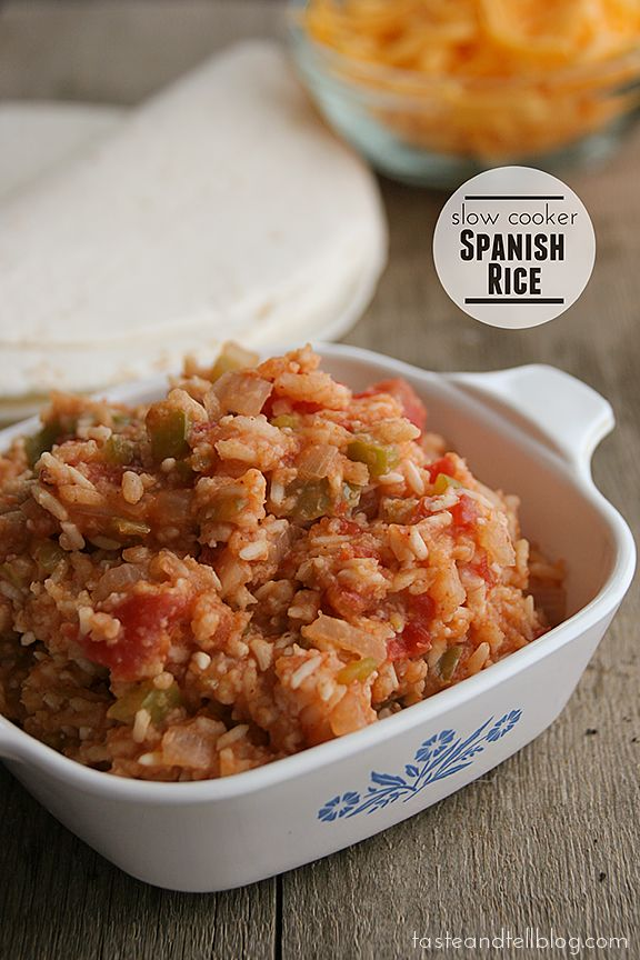 Slowcooker Spanish rice-ow for 2-3 hours 1 cup long grain rice (uncooked) 1 cup water 1/2 cup chopped onion 1/2 cup chopped green bell pepper 2 cloves garlic, minced or grated 1 tea...