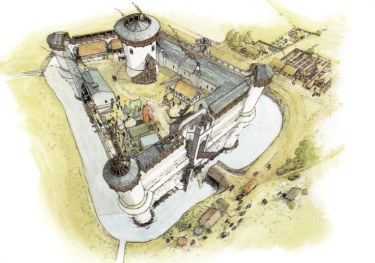Skenfrith Castle Reconstruction Wales 1250 AD