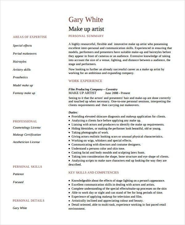 Artist Resume Template 7 Free Word Pdf Document Makeup Artist Resume Artist Resume Artist Cv