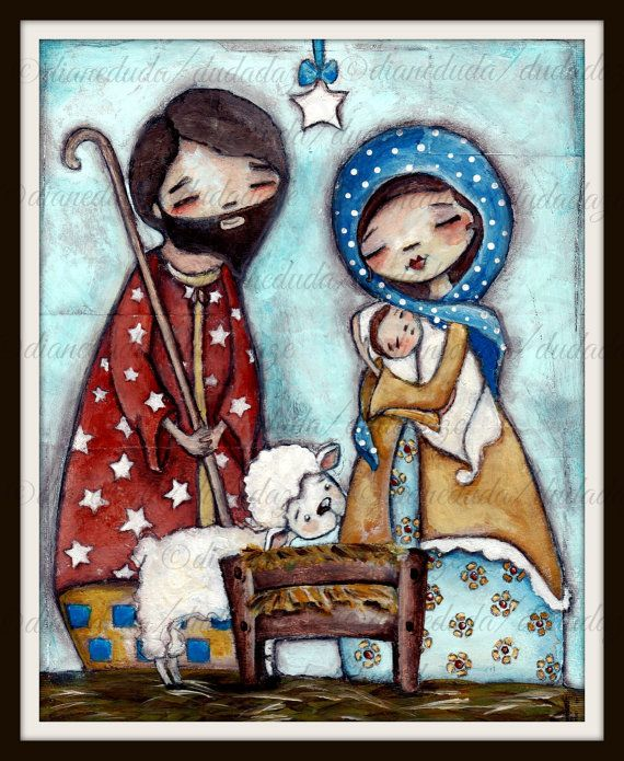 Four Print Set of my original paintings  Nativity  by DUDADAZE ©dianedduda/dudadaze