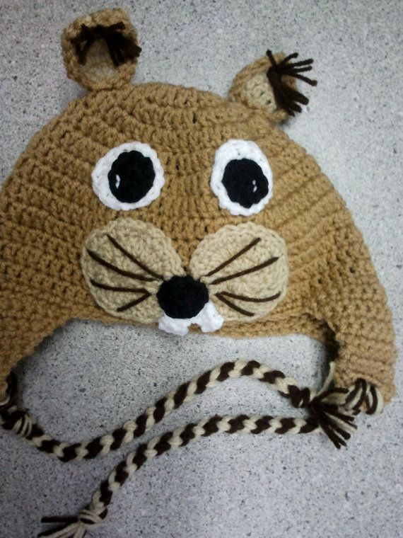 Crochet Squirrel Beanie with Earflaps by madebymeeshop on Etsy, $25.00