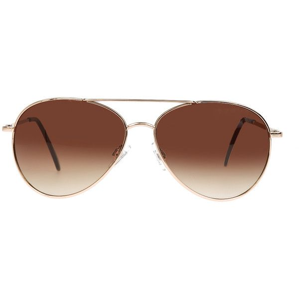 ELOQUII Classic Gold Aviators (120 RON) ❤ liked on Polyvore featuring accessories, eyewear, sunglasses, glasses, gold sunglasses, aviator style glasses, gold aviators, aviator glasses and gold glasses