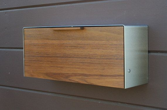 Gorgeous Modern Mailbox in Teak and Stainless Steel, by CeCeWorks, $275.00
