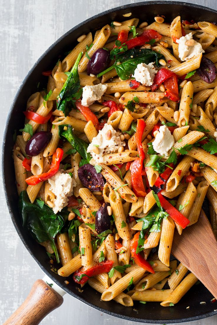 vegan red pepper pasta pan