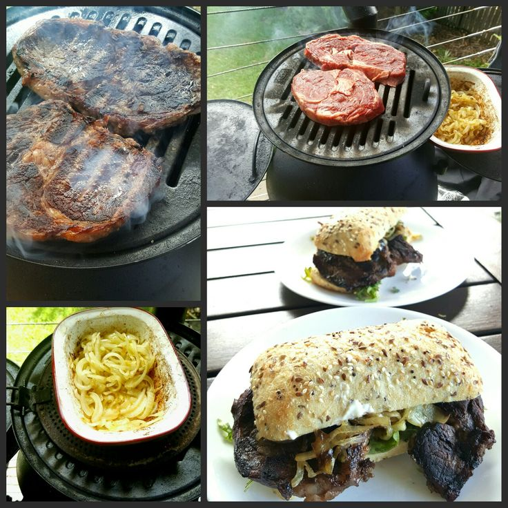 Steak and onion sandwich. Caramelise the sliced onions slowly in salt and butter first by frying in the enamel dish over the grill plate then leave on the warming plate covered with foil while you cook the steak.  Make sure the dish is touching the Ozpig to keep it cooking.