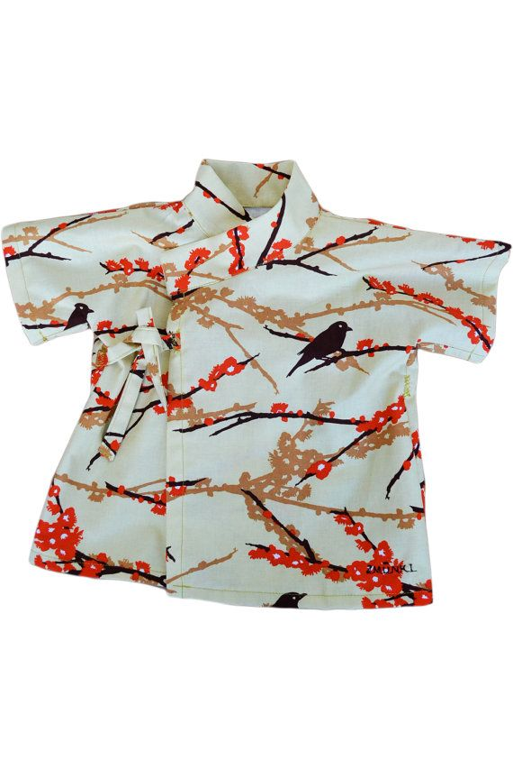 Baby Clothing Baby Kimono Baby Top Shirt - Baby Love Sparrows- Joel Dewberry 100% Printed Cotton - Sizes from Newborn to Toddler -