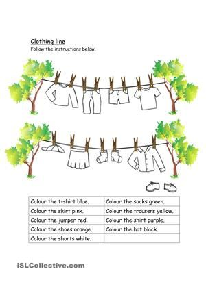 Resultado de imagen de clothes worksheets for kindergarten