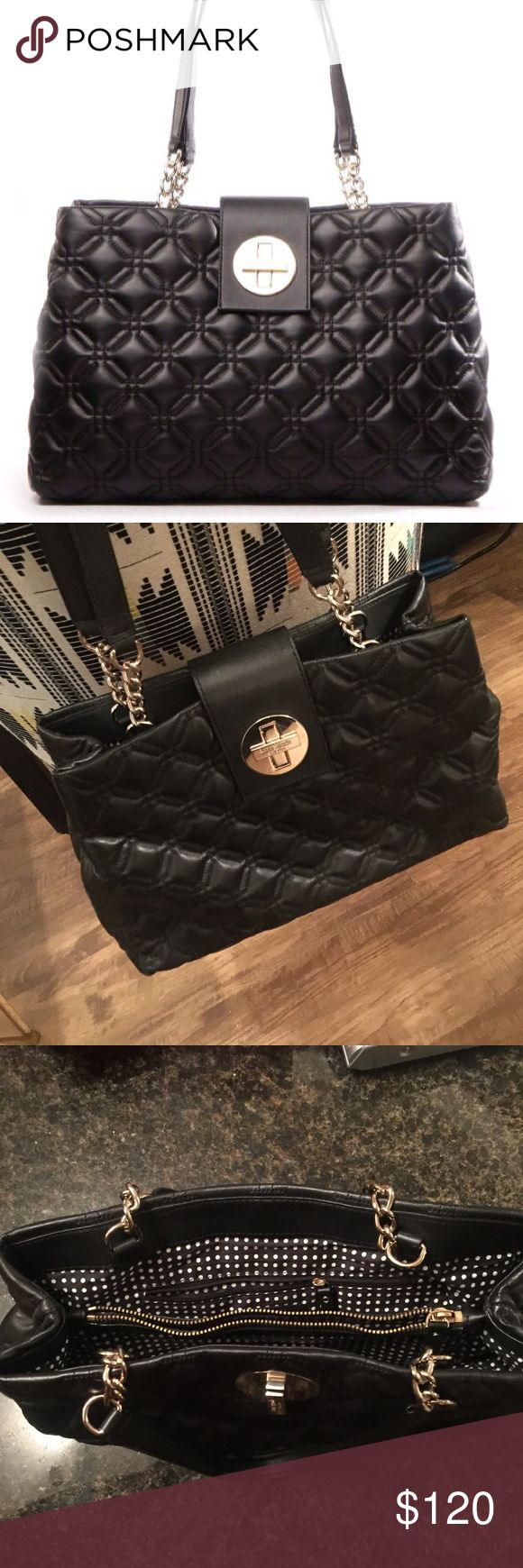 Kate Spade Elena Bag EUC! Super cute but it just sits in my closet- needs a new home! Black quilted leather and super. It's polka dot print on the inside. Happy to add more photos, just ask! kate spade Bags Shoulder Bags