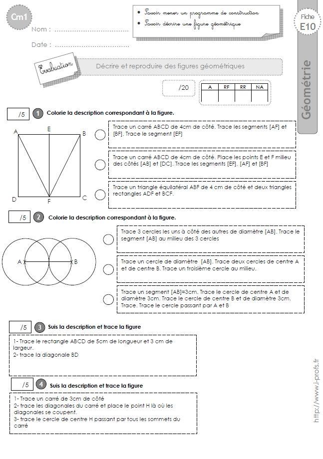 Cm1 Evaluation La Suivre Un Programme De Construction Programme Cm1 Cm1 Geometrie