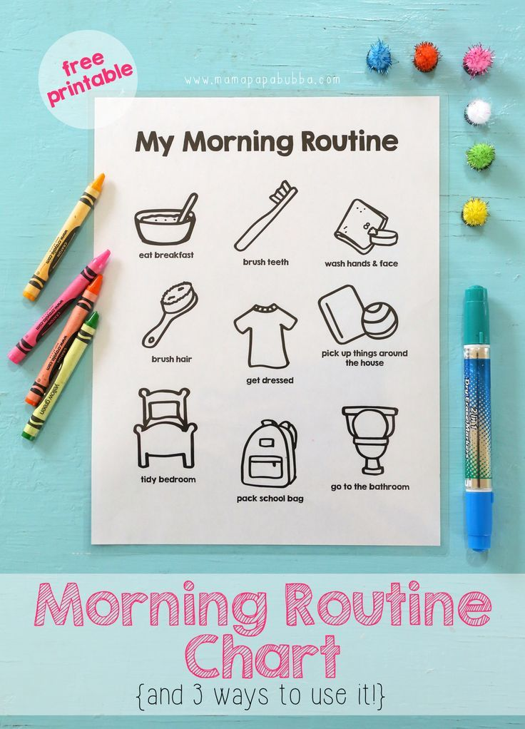 printable morning routine chart learning activities