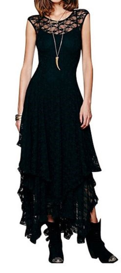 Layered Black Lace dress but without the short cowgirl boots.