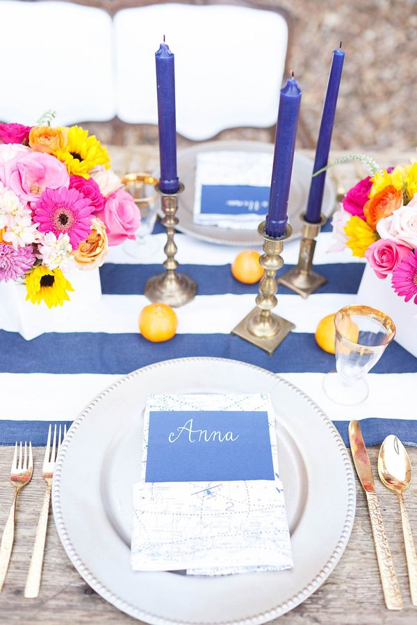 pink, orange and navy table setting - by V.A. Photography